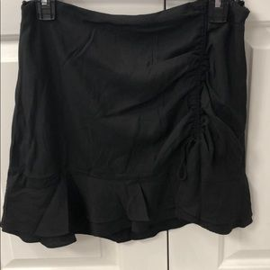 Black Side Ruffle Mini Skirt
